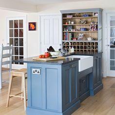 Soft blue painted kitchen