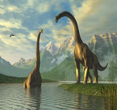 Great painting of sauropods (maybe brachiosaurs?)