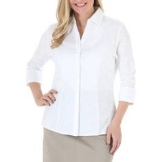 Riders by Lee Women's Classic 3/4 Sleeve Wrinkle Resistant Career Shirt, Size: Medium, White