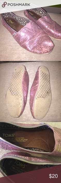 Toms Sparkly Pink Shoes Worn but lots of life left! Comes with toms dust bag Toms Shoes Flats & Loafers