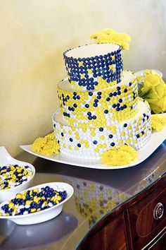 if I were to have a Phi Sig wedding...Wedding Cakes Pictures: Blue and Yellow Candy Wedding Cake