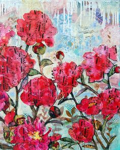 """""""flowers don't worry about how they're going to bloom. they just open up and turn toward the light and that makes them beautiful."""" Jim Carrey  enrich your mixed media art with a free mixed media class! link in bio  @SchulmanArt"""
