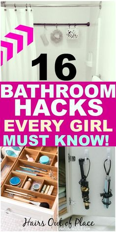 16 bathroom storage ideas for small spaces. These inexpensive and easy bathroom… 16 bathroom storage ideas for small spaces. These inexpensive and easy bathroom organization hacks are definitely tips every girl should know! Diy Hacks, Organizing Hacks, Organisation Hacks, Makeup Organization, Storage Organization, Bathroom Storage Ideas For Small Spaces, Small Space Organization, Small Bathrooms, Girls Bathroom Organization