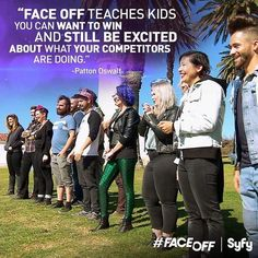 Words of wisdom from Patton Oswald:  We're proud that our contestants are not only All-Star artists but also All-Star people.  #pattonoswald #allstars #syfy #faceoffsyfy
