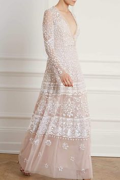 New Season Aurora V Neck Gown in Pearl Rose / Silver Expensive Wedding Dress, Affordable Wedding Dresses, Sequin Midi Dress, Sequin Gown, Mesh Dress, Colored Wedding Dress, Wedding Dress Styles, Long Sleeve Gown, Dress Sleeves