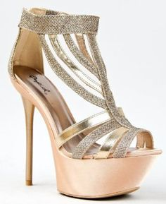 Amazon.com: Qupid CIARA-08 Platform High Heel Stiletto Strappy Glitter Sandal: Shoes