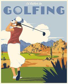 Vintage golfing. Prints available at www.stevethomasart.com.