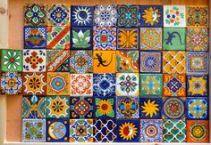 """50 Mexican Talavera Tiles handmade- Hand painted 2 """"X 2"""" - Love these!  How would you choose?"""