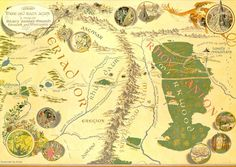 map of middle earth, focus on Bilbo's travels #hobbit #lotr #tolkien