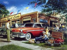 This old vintage car lot is getting some business today, but it looks as though the kiddie car lot next door may be doing better. A classic car print by Dan Hatala. The classic Chevrolet station wagon