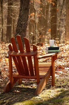 This is a comfortable chair. Perfect for reading. An Adirondack chair. Adirondack Chairs, Outdoor Chairs, Outdoor Decor, Autumn Day, Autumn Leaves, Fallen Leaves, Simple Pleasures, Happy Fall, Belle Photo