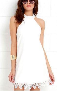 White Halter Neck Short Dress Featuring Lace Appliquéd Hem and Open Back
