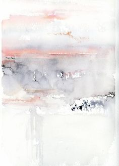Buy Pink Sky, a Watercolor on Paper by Alex Tolstoy from United States. It portrays: Abstract, relevant to: pink, sky, clouds, abstract, gray abstr… | Pinteres…