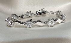 Vintage 7  Bracelet Eco Friendly Diamond Flowers by InVogueJewelry, $61.00