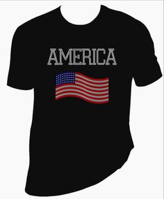 America with Flag rhinestone TShirt. Your choice of Men's or Women's type TShirt. - pinned by pin4etsy.com