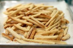 dessert french fries. made from dough and sugar not potatoes and salt. mmm