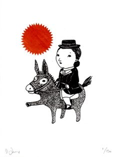 DRESSAGE  gocco screen print black and red collage by AtelierGilet, $20.00