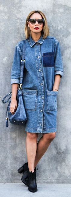 Spring / Summer - street chic style - mixed denim shirt dress with big pockets + black booties + navy handbag + black sunglasses