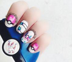 Sylveon Pokemon Nails @Luuux