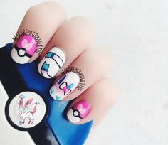 Sylveon Pokemon Nails @Luuux