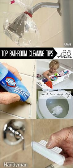 Cleaning Tips : Top 10 Bathroom Cleaning Tips. Get ready for your spring cleaning with these tips. Love the bleach pen for grout Cleaning Hacks Tips And Tricks, Deep Cleaning Tips, Tips & Tricks, Cleaning Solutions, Spring Cleaning Tips, Bathroom Cleaning Hacks, Household Cleaning Tips, House Cleaning Tips, Diy Cleaning Products