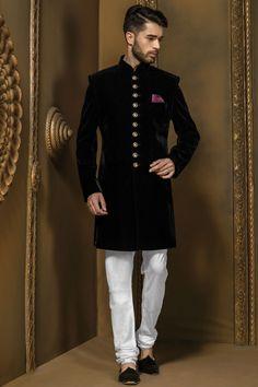 Jet #black #velvet sophisticated #jodhpuri bandh gala #sherwani with full sleeves & chudidar-IW348