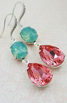 Estate Style Earrings Mint + Coral Earrings from EarringsNation