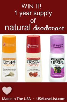 natural deodorant - enter to win a years supply. -- It's made in the USA!