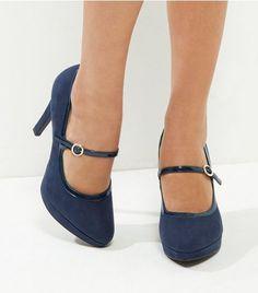 3e5e9dd583 Wide Fit Navy Comfort Suedette Platform Court Shoes