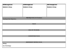 ReadyGen Lesson Plan Template Reading and Writing Ready Ge