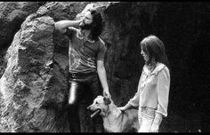 Pam Courson and Jim Morrison {Bronson Cave photoshoot. March 30 1969. Hollywood Hills}