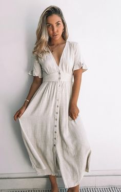 Casual Summer Dresses, Summer Dresses For Women, Linen Summer Dresses, Casual Summer Style, Flowy Dress Casual, Summer Dresses With Sleeves, Vintage Summer Dresses, Beautiful Summer Dresses, Casual Dress Outfits