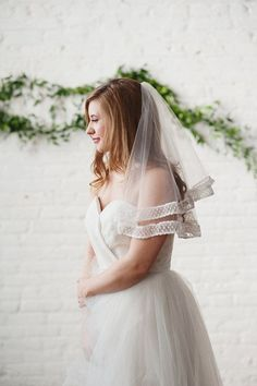 Tulle Tulip Blusher Veil with Embroidery