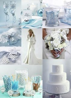 Winter wonderland wedding with silver, white, and blue hues.