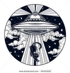 Alien Spaceship. UFO Background with flying saucer icon with a cat. Conspiracy theory concept, tattoo art. Isolated vector illustration.