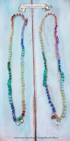 Crocheted Boho Chic Necklace, #VintageRoseGallery #crochet #etsy Multi Coloured 5 Strand Bracelet and Necklace by VintageRoseGallery
