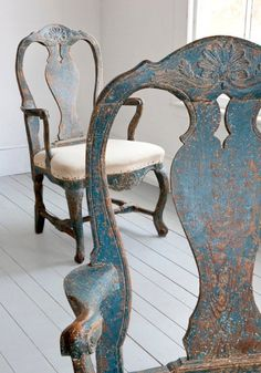 Beautiful distressed shabby vintage blue Swedish Chairs; cottage style home decor; upcycle, recycle, salvage, diy, repurpose!   For ideas and goods shop at Estate ReSale  ReDesign, Bonita Springs, FL