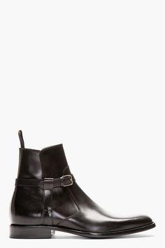 SAINT LAURENT Black Leather Harness Ankle Boot