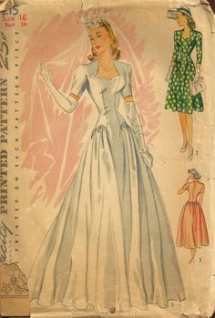 Wedding Dress Vintage Simplicity Pattern