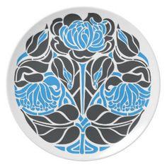 art nouveau floral plate