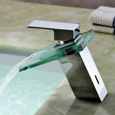 Sprinkle by Lightinthebox - Waterfall Bathroom Sink Faucet with Glass Spout(Chrome Finish)