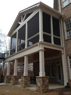 like the lower level squared beams with lower stone base. Decksouth Screen Porches in Alpharetta, GA Screened Porch Designs, Screened In Deck, Deck Pergola, Pergola Kits, Pergola Ideas, Screened Porches, Decking, Pergola Plans, Cheap Pergola