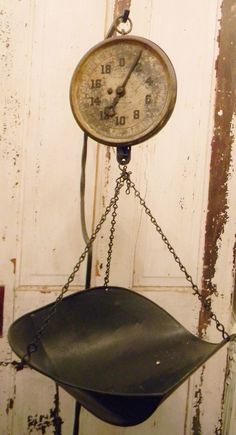 Perfectly Rustic Vintage Scale-  Great in a Kitchen with Flowers