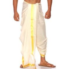 Cream Dhoti from Kerala, with Golden Thread Weave on Border