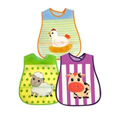 Waterproof Animal Baby Bibs Large Size  3 Pack  Reversible Pocket  Velcro Closure  PEVA * You can get additional details at the image link.-It is an affiliate link to Amazon.