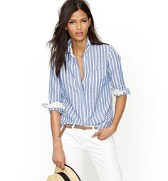 glamour:    We're all about spring stripes. Perfect shirt in stripe linen, $80, jcrew.com