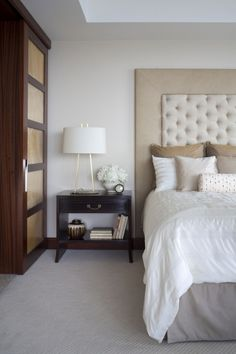 Night stand, bed, headboard