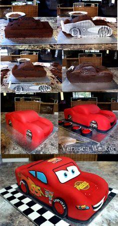 mcqueen Step-by-step by Verusca.deviantart.com on @deviantART  - Cake decorating tutorial