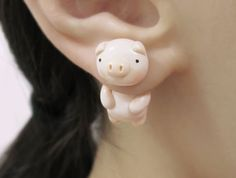 Hey, I found this really awesome Etsy listing at https://www.etsy.com/listing/398785995/cute-pig-clinging-earring-two-part