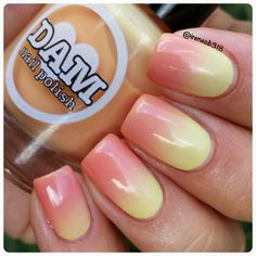 Citrus Sherbet is a sunny orange and yellow thermal. Just restocked this one las., Citrus Sherbet is a sunny orange and yellow thermal. Just restocked this one last night. Now to get some sherbet. Elegant Nails, Classy Nails, Pedicure, Ombre Nail Colors, Thermal Nail Polish, Broken Nails, Yellow Nails, White Nails, Luxury Nails